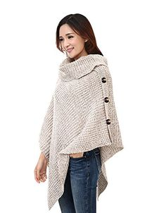 Large Till Crochet Poncho Sweater Shawl Wrap Blanket Scarf Apricot ** Visit the image link more details. (This is an affiliate link) Crochet Poncho Patterns, Crochet Jacket, Crochet Scarves, Crochet Shawl, Crochet Clothes, Knit Crochet, Crochet Sweaters, Crotchet, Poncho Sweater