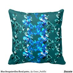 Blue Bougainvillea floral pattern Pillows. #Floral #Abstract #Art