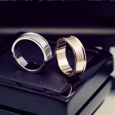 Silver And Rose Couple Rings , Unique Titanium Wedding Rings For Boyfriend & Girlfriend. Titanium Wedding Rings, Silver Wedding Rings, Wedding Bands, Silver Rings, Ring For Boyfriend, Boyfriend Girlfriend, Promise Rings For Couples, Rings For Men, Matching Couple Rings