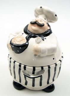 Cookie Jar Canister Ceramic Chef