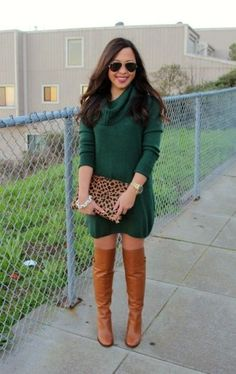 Louise et Cie Navaria Over The Knee Boots, Clare Vivier Flat Clutch in Leopard, Ray Ban Classic Aviators, Pave Link Bracelet, and H & M Sweater Dress Green Sweater Dress, Sweater Dress Outfit, Long Sleeve Sweater Dress, Sweater Dresses, Dresses Dresses, Sexy Outfits, Fashion Outfits, Womens Fashion, Boot Outfits