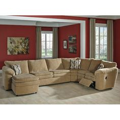 Ashley Furniture 4 pc Coats II collection dune colored fabric upholstered sectional sofa and recliner and chaise Ashley Sectional, Sectional Sofa With Recliner, Fabric Sectional, Reclining Sectional, Sofa Sleeper, Armless Chair, Small Sectional, Recliner Chairs, Dune