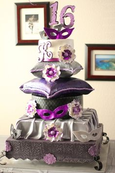 masquerade party sweet 16 cake