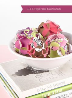 d.i.y. Paper Ball Ornaments by Vera Bradley