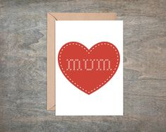 Mum Heart,  Card For mum, Mother of the bride card, birthday card for mum, Cross Stitch Font, Cross stitch card