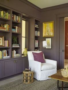 built-ins painted to blend with wall