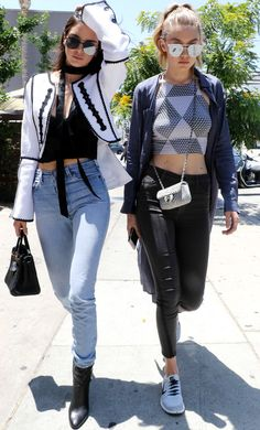 Kendall Jenner and Gigi Hadid, Kengi, Los Angeles, Monochrome, Sports, Tailoring, skinny scarves, ankle boots, summer, tie dye, 90s, structured, | NL Daily