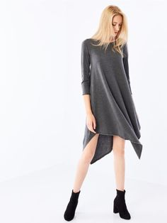 Knitted dress with asymmetric hemline, MOHITO