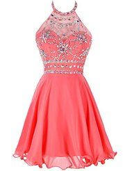 coral halter beaded homecoming dress short prom dress open back