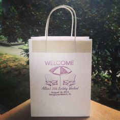 Custom made Beach Birthday Welcome Bags designed and hand printed onto each bag by wright4design sold on Etsy.com, $3.75 ea #birthday #florida #giftbag #birthdaybag #birtgdayparty #etsy #DIY #partyplanner #gift #bag #customdesign #weddingwelcomebag #instabirthday #diy #diyparty #birthdayidea #weddingfavor #giftbag #destinationbirthday #30 #30th #bigthreeoh  http://www.etsy.com/people/wright4design