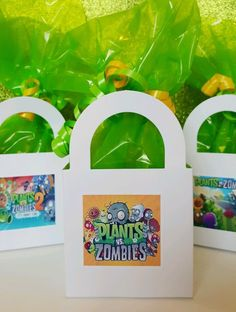 12 Plants vs Zombies PVZ 2 Birthday Party Favor Bags Stickers Goody #pvz