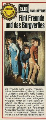 Newspaper clipping: Five Friends and the Castle Dungeon: Friends Anne (Jenny Thanisch), Julian (Marc Nostalgia 70s, The Famous Five, Marvel Comics, Five Friends, Good Old Times, Retro Images, Epic Fail Pictures, Ol Days, My Childhood Memories