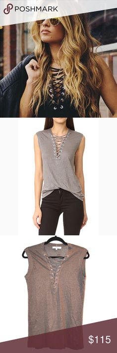 297f06906c New IRO Tissa Lace Up Tank in Gray Brand  IRO Size  small Condition  new  without tags Material  linen Color  grey As seen on Jessie James Decker and  Chrissy ...