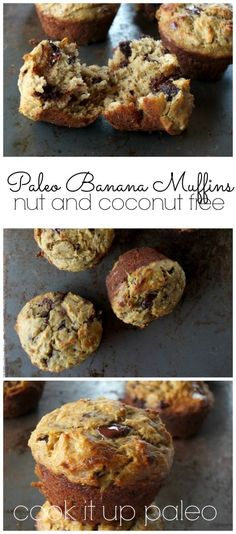 Paleo Banana Muffins with Chocolate Chunks made with Otto's Naturals Cassava Flour (nut and coconut free) | Cook It Up Paleo