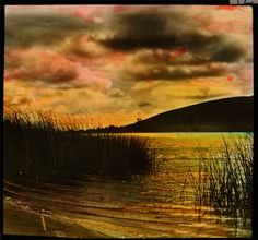 Hand-colored lantern slide of Sunset Over Silver Lake, date unknown. Silver Lake Los Angeles, Los Angeles California, Southern California, Old Photography, Hand Written, Best Photographers, Hand Coloring, Lanterns, Sunset