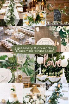 Decoração de Casamento : Paleta de Cores Greenery e Dourado