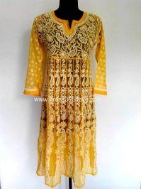 Buy Yellow Georgette Chikankari Anarkali