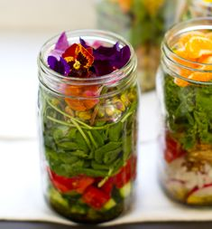 Vegan Salad in a Jar by kblog.lunchboxbunch: Make ahead bliss!  #Salad #Jar #Picnic
