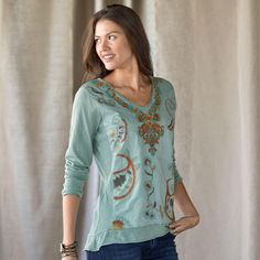 "SPIRIT SEEKER TOP�--�Our mixed-media slub knit top with cotton voile overlay is a spiritual experience, with embroidered flare, roll-hem and rib detail. Machine wash. Imported. Exclusive. Sizes XS (2), S (4 to 6), M (8 to 10), L (12 to 14), XL (16). Approx. 27""L."