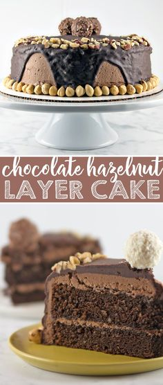 Chocolate Hazelnut Cake: two layers of rich chocolate cake, sandwiched between layers of fluffy Nutella buttercream, topped with chocolate ganache and chopped hazelnuts.  {Bunsen Burner Bakery} via @bnsnbrnrbakery