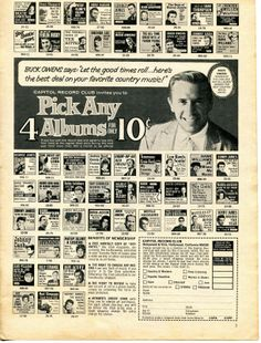 Buck Owens says, pick any 4 albums for 10 cents.is this still good I wonder? Buck Owens, Owen Jones, Capitol Records, Good Times Roll, Country Music, American History, George Jones, Let It Be, Sayings