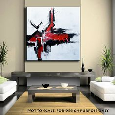 """Large Abstract Red art, ORIGINAL 48""""Abstract Painting Minimalist Art,  Original Painting on Canvas Contemporary Painting Wall Art on Etsy, $275.00"""