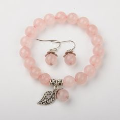 Rose Quartz Jewelry Sets, Necklaces & Earrings, with Brass Spacer Beads -- Jewelish.com