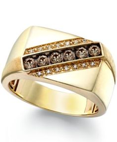 Men's Champagne and White Diamond Ring in 14k Gold (1/4 ct. t.w.)