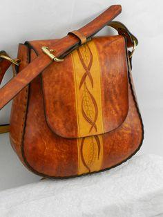 Handmade Latigo Leather Shoulder Bag Hand-dyed hand tooled