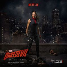 Marvel has revealed a Daredevil: Season 2 Elektra poster featuring the character (played by Elodie Yung) in full costume; the series returns March Elektra Daredevil Season 2, Daredevil Season 2 Poster, Daredevil Series, Daredevil 2015, Elodie Yung, Penny Dreadful, Gotham, The Walking Dead, Poster