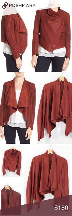 """LaMarque Cascading Moto Front Suede Leather Jkt 51 LaMarque Women's Rosewood Statement-making jacket rendered in rich leather, Cascading lapels, Shoulder hook-and-eye closure, Long sleeves, Asymmetrical hem, Unlined Retails $425 Size: L Large  Shoulder: 18.5""""  Sleeves: 24.75""""  A2A: 22.5""""  Length: 19.75""""  Color: Rosewood Pattern: Solid Material: Goat suede with 68% rayon, 27% nylon, 5% spandex contrast WT: 1.01 CSKU: N51; 45 Jacket on model is for styling/fit reference only. All measurements…"""