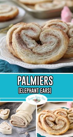 PALMIERS are elegant cookies with flaky, buttery layers! These pastries can be made with homemade puff pastry or store-bought (depending on how much time you have on your hands! This is a great step-by-step recipe for unique cookies! Peach Puff Pastry, Rough Puff Pastry, Puff Pastry Sheets, Tart Recipes, Baking Recipes, Dessert Recipes, Pastries Recipes, Gourmet Desserts, Plated Desserts