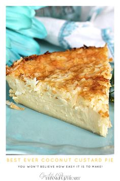 Super easy recipe that is delicious and always a favorite. Creamy Impossible Coconut Custard pie creates its own crust and takes just a few minutes to prepare. Add ingredients to a blender, pour into a pie pan, top with coconut and bake. It is that easy! Bisquick Recipes, Custard Recipes, Coconut Recipes, Baking Recipes, Best Coconut Custard Pie Recipe, Pie Coconut, Custard Pies, Custard Desserts, Coconut Cupcakes