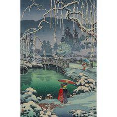 土屋光逸 (風光礼讃) - 春の雪 京都円山 (1936)