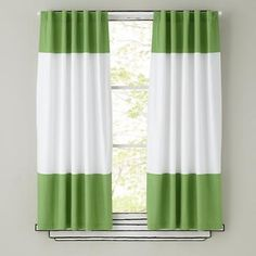 Possibly Liam's Room: Kids Curtains: Green and White Curtain Panels in Curtains