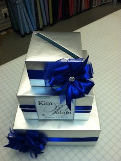 Silver and blue with a personalization makes a beautiful gift card box Lisa's Gift Wrapperd