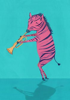 Kids Illustration / Children's illustration for a creative packaging project.  Zebra playing the trumpet by Wild Bear Designs. See more at www.wildbeardesigns.co.uk Bear Design, Logo Design, Zebra Illustration, Freelance Graphic Design, Animals For Kids, Trumpet, Good Times, Biscuit, Safari