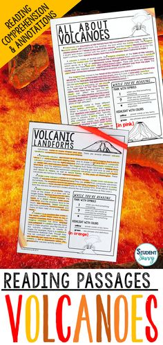 Volcanoes / Volcano Worksheets - Reading Comprehension Passages, Questions, and Annotations It contains 4 Engaging, Non-Fiction Reading Comprehension Passages with Directions for Student Annotations! Reading Comprehension Questions also included! Science Lesson Plans, Science Resources, Science Lessons, Teaching Science, Life Science, Teaching Resources, Teaching Ideas, Reading Comprehension Passages, Comprehension Questions