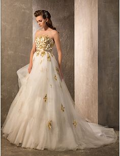 A-line/Princess Strapless Floor-length Tulle And Satin Wedding Dress - USD $ 299.99