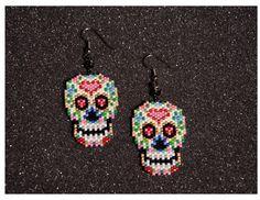 Day of the Dead Skull Earrings by HandMadeBeadedCrafts on Etsy
