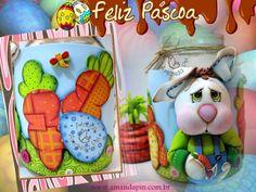 Coelho vidro + vidro decorado páscoa + páscoa e.v.a 3D