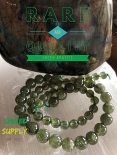 """Awaken your inner self! Our BRAND NEW luxe Green Apatite brings inspiration and motivation. It is a dual-action stone, known for its positive use of personal power to achieve goals.  Green Apatite is called """"bones of the Earth"""" and is one of the best crystals used to heal the earth. Feeling drawn to this beauty? Grab one now! zen jewelz 