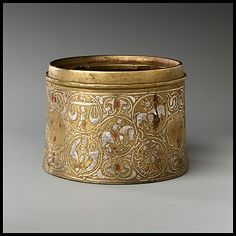 Inkwell with twelve Zodiac medallions, late 12th c - early 13th c., Iran, metal, MET 44.131