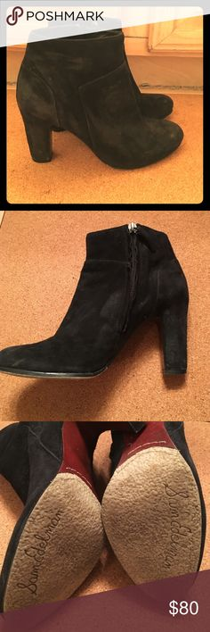 Sam Edelman Black Suede Booties, Size 8M Sam Edelman Black Suede Booties in good condition! Some marks with wear, but will look brand new after they are cleaned. Sam Edelman Shoes Ankle Boots & Booties