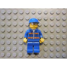 Lego Minifigure Tow Truck Driver Blue Jacket Orange Stripes Blue Cap Town City