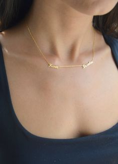 Two Name Necklace Personalized Necklace Gold by PersonalNecklace