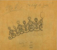 An intricate tiara sketch by Cartier, for Count Orloff....... no, not the Meerkat