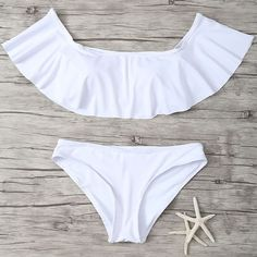 OFF SHOULDER WHITE BIKINI SET #howtochic #ootd #outfit