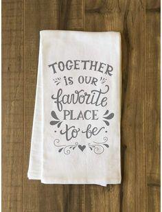 Red Barrel Studio Together Is Our Favorite Place Dishcloth Monogram Towels, Personalized Towels, Kitchen Hand Towels, Dish Towels, Green Tea Towels, Towel Crafts, Flour Sack Towels, Cricut Creations, Vinyl Crafts