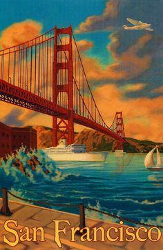 San Francisco vintage litho